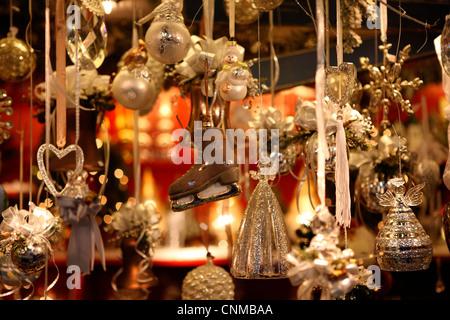 Christmas decoration in Altermarkt Christmas market, Salzburg, Austria, Europe - Stock Photo