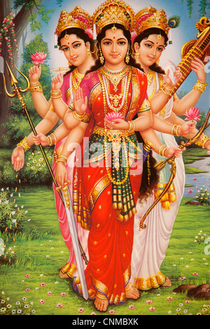 Picture of Hindu goddesses Parvati, Lakshmi and Saraswati, India, Asia - Stock Photo