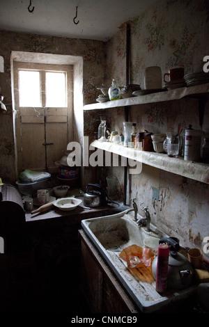 OLD DERELICT KITCHEN - Stock Photo