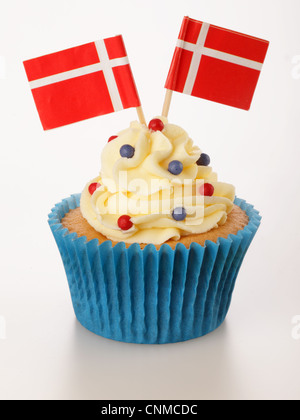 DANISH FLAG CUPCAKE - Stock Photo