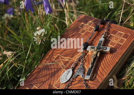 Bible and rosary, St. Gervais, Haute-Savoie, France, Europe - Stock Photo