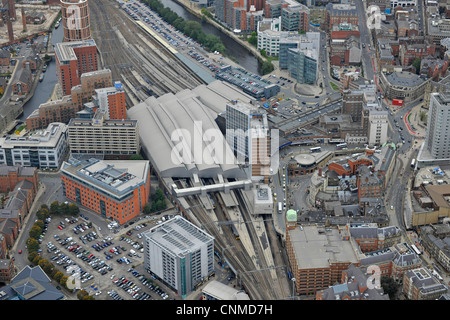 Aerial Photograph showing Leeds Railway Station and surrounding area. - Stock Photo