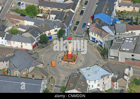 Aerial photo of Tredegar Town Centre and the Circle with town clock. - Stock Photo