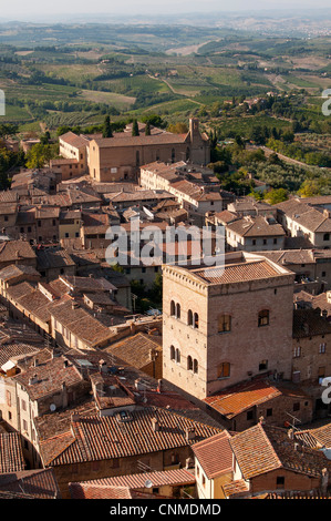 Aerial view of San Gimignano with Chiesa di Sant'Agostino (St Augustine Church) as seen from Torre Grossa Tower, - Stock Photo