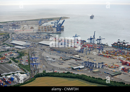 Aerial photograph showing Felixstowe Docks with containers, Cranes, ships in dock and coming into port. Also shows - Stock Photo