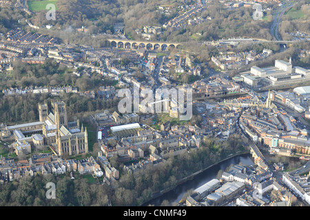 Aerial photograph or Durham Cathedral and town - Stock Photo