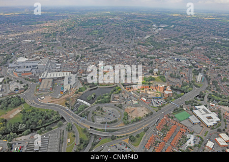 Aerial Photograph showing Derby city centre and the ring road, A601 - Stock Photo