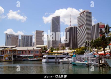 Florida, FL, South, Miami, Biscayne Bay, Bayside Marketplace Marina, downtown skyline, office buildings, city skyline - Stock Photo