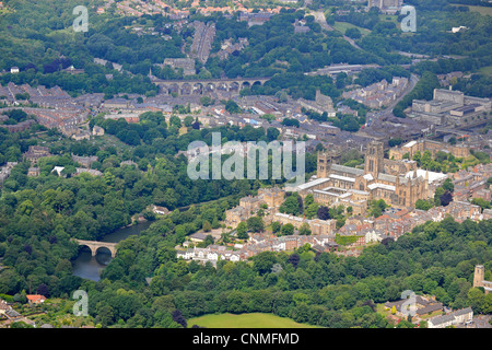 Aerial View of Durham Cathedral with Durham town in the background. - Stock Photo