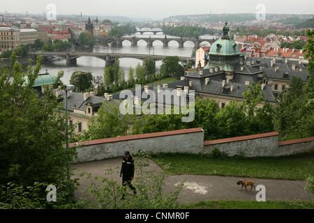 Panoramic view of the bridges over the Vltava River in Prague, Czech Republic. - Stock Photo