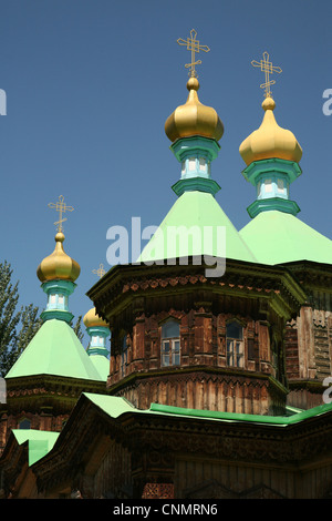 Russian Orthodox Holy Trinity Cathedral in Karakol, Kyrgyzstan. - Stock Photo