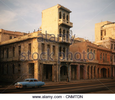 Decaying buildings on city street - Stock Photo