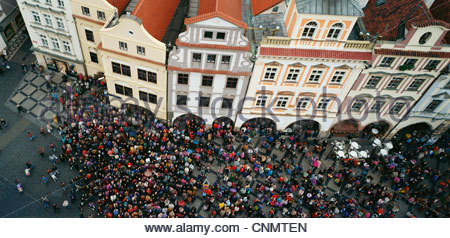 Aerial view of crowd in town square - Stock Photo