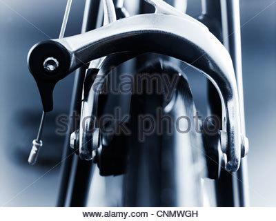 Close up of bicycle brake - Stock Photo