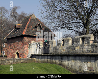 Red Tower and City Walls York North Yorkshire England UK United Kingdom GB Great Britain - Stock Photo