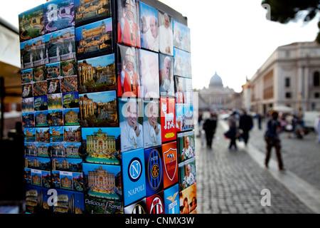 Magnets and souvenirs for sale in market shop, Rome, Italy, Roma, Italia. Vatican, Vaticano - Stock Photo