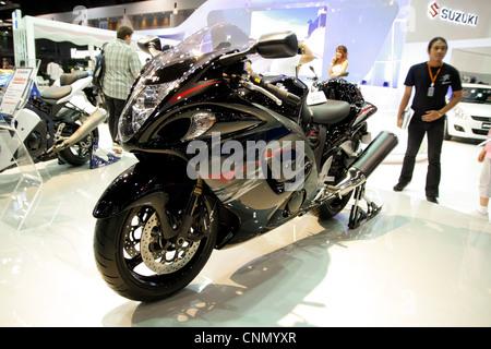 Suzuki Hayabusa display at Thailand Motor Show 2012 - Stock Photo