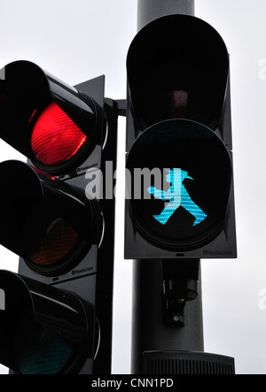 Berlin, Germany. Green man on road crossing / red traffic light - Stock Photo