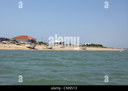 View of fishing village with fishermens houses on landward side of coastal spit, Ria Formosa N.P., Algarve, Portugal, - Stock Photo