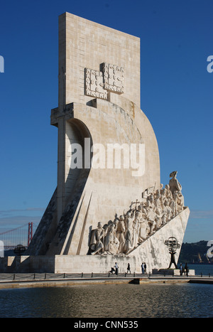 Monument on city riverbank Monument to Discoveries Padrao dos Descobrimentos Tagus River Belem Lisbon Portugal november - Stock Photo