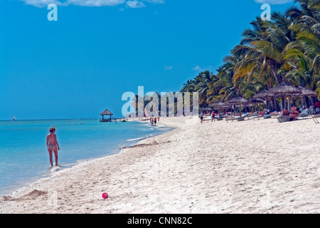 The beach in front of La Pirogue Hotel, at Wolmar, just south of Flic en Flac on the West coast of Mauritius - Stock Photo