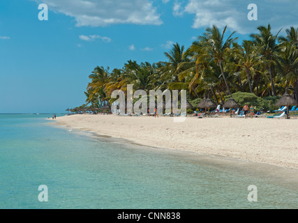 The beach in front of La Pirogue Hotel, at Wolmar, just south of Flic en Flac on the West coast of Mauritius