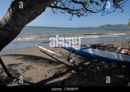 Traditional outrigger fishing boat on the beach in Dili Timor Leste - Stock Photo
