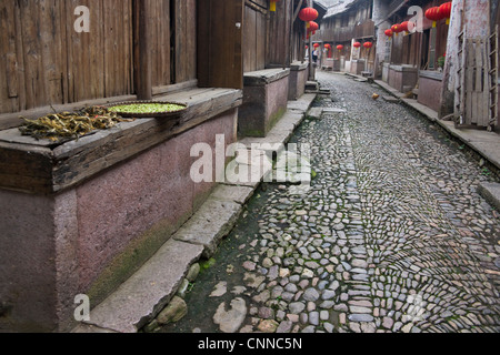 Cobbled street in the ancient town of Pantan, Xianju County, Zhejiang Province, China - Stock Photo