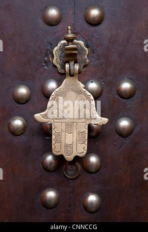 Door knocker in Marrakesh, Morocco - Stock Photo