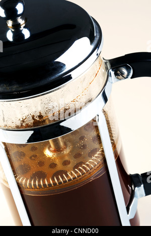 Photo of a Cafetiere with freshly brewed coffee inside - Stock Photo