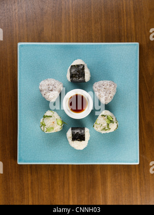 Aerial view of plate of sushi - Stock Photo