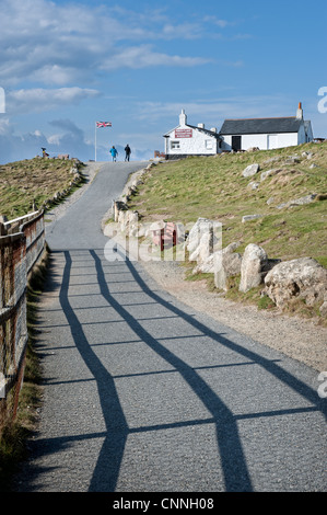 The coastal path leading to the first and last refreshment house, Land's End, Cornwall, UK - Stock Photo