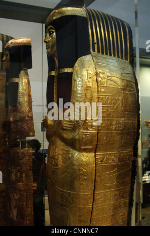 Inner wooden coffin of Henutmehyt, covered in gold leaf. From the tomb of Henutmehyt. Thebes. 19th Dynasty. - Stock Photo