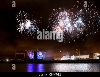 Titanic Belfast Lightshow - Stock Photo