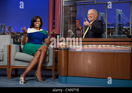 First Lady Michelle Obama is interviewed during a taping of the Late Show with David Letterman at the Ed Sullivan - Stock Photo