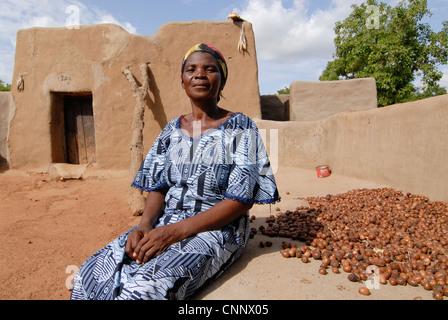 Burkina Faso , village Sesuala near Pó, ethnic Kassena, women group produce fair trade shea butter from Shea nuts - Stock Photo