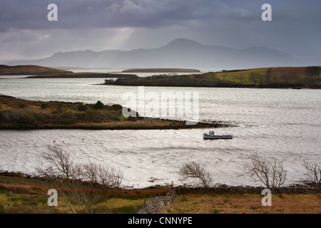 Looking across Clew Bay at Croagh Patrick Mountain, in County Mayo on the West Coast of Ireland. - Stock Photo