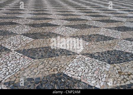 Close-up of patterned cobbled surface in town square, Elvas, Portalegre District, Alentejo, Portugal, april - Stock Photo