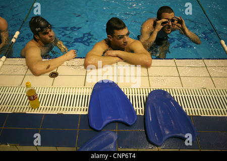 Training of the swimming club Partizan Belgrade in the Tasmajdan Sports Centre in Belgrade, Serbia. - Stock Photo
