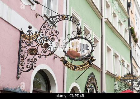 Street scene in Burghausen, Germany. - Stock Photo