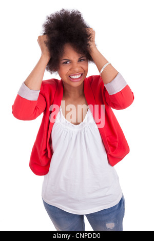 Portrait of a beautiful african american woman, isolated on white background - Stock Photo