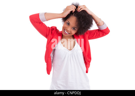 Young african american woman making braids, isolated on white background - Stock Photo