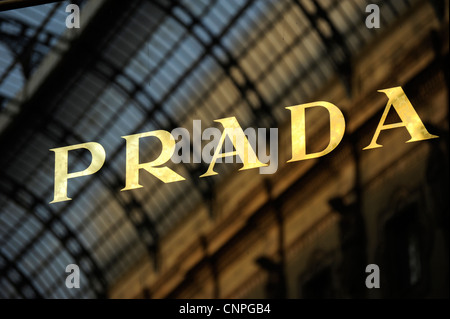 Prada shop. Galleria Vittorio Emanuele II. Milan, Italy - Stock Photo