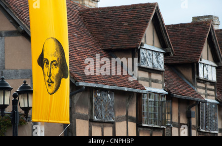 William Shakespeare banner in front of his birthplace in Stratford Upon Avon, Warwickshire, England - Stock Photo