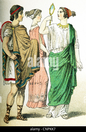The ancient Greeks represented here are, from left to right: a Greek in traveling clothes, two women. - Stock Photo
