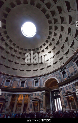 The Pantheon, Rome, interior showing dome and oculus, daytime - Stock Photo