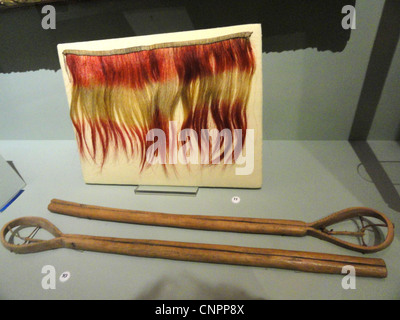 Collar (top), Choctaw, dyed horsehair, before 1828; ball sticks (Cherokee), collected on Qualla Reservation, 1907 - Stock Photo