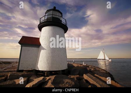 Brant Point Light, Lighthouse, Nantucket Island, Massachusetts, USA - Stock Photo