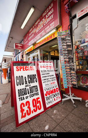 UK, England, Devon, Paignton, Torbay Road, Inexpensive food, fish and chip lunch for £3.95 pavement sign - Stock Photo