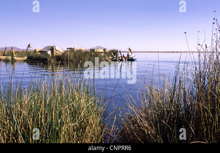 Uros floating Islands,  made of reed. Lake Titicaca, Peru. - Stock Photo